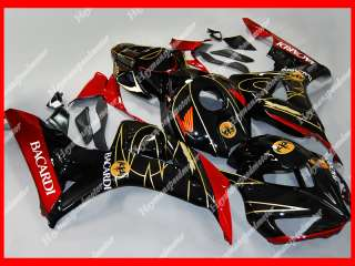 For 06 07 Honda CBR 1000RR ABS Aftermarket Fairing BACARDI Black Red