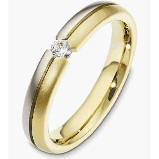 18 Karat Two Tone Gold Diamond Band, 0.13 TCW   4