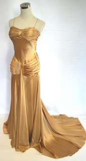 NWT CLARISSE $245 Gold Silk Formal Party Prom Gown 14