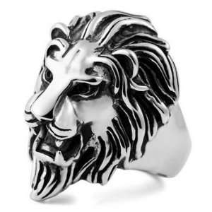STUNNING MENS Lion Stainless Steel Ring Size 14 Justeel