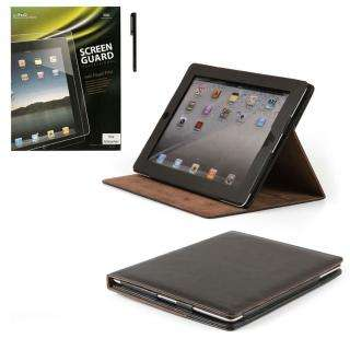 LEATHER CASE COVER FOR APPLE IPAD 2 + SCREEN PROTECTOR +STYLUS