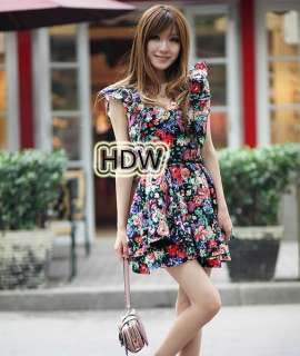 Korean sexy V neck Floral party cocktail Dress sleeveless ladies wear