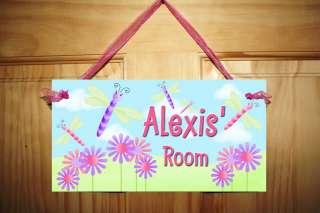 Dragonflies Flowers Girl Bedroom Nursery Kids Door Sign