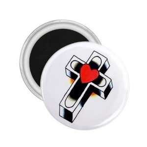 Tattoo Cross Heart Art Fridge Souvenir Magnet 2.25 Free