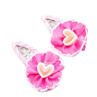 Pair Hear Flower Girls Baby Kids Hair Bow Snap Clip