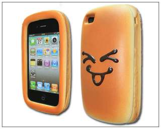Funny Hot Dog Hamburger PU Soft Bread Case Cover f iPhone 4 Smile
