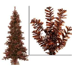 Mocha Brown Wide Cut Laser Tinsel Artificial Christmas Tree   Unlit
