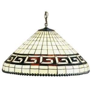 Greek Key Tiffany Stained Glass Pendant Lighting Fixture