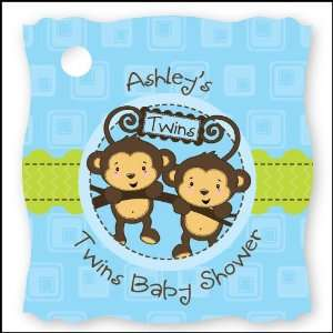 Twin Monkey Boys   20 Personalized Baby Shower Die Cut Card Stock Tags