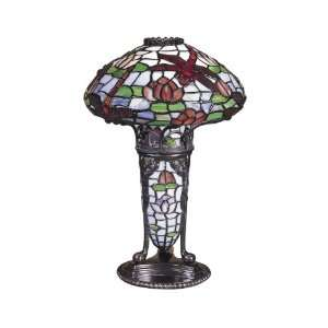 TA100644 Dragonfly Accent Lamp, Antique Bronze and Art Glass Shade