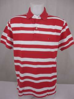 New Tommy Hilfiger Mens Golf Polo Shirt Logo Striped Mesh Red White