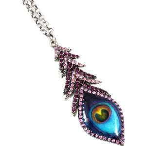FASHION JEWELRY   Purple Peacock Bird Feather Formica and