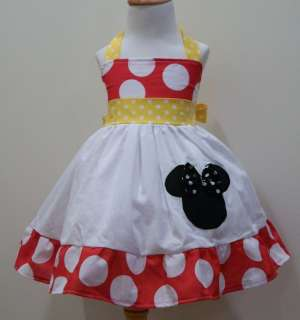 GIRLS HALTER MINNIE MOUSE YELLOW & RED WHITE POLKADOT DRESS SIZES FROM
