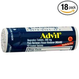Advil Pain Reliever/Fever Reducer Tablets, 200 mg, 10 Count Pocket