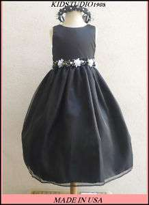 NEW B1 BLACK FORMAL WEDDING RECITAL FLOWER GIRL DRESS