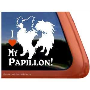 I Love My Papillon Vinyl Window Dog Decal Sticker