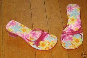 Girls Pink Floral Jelly Pool Sandals Shoes 12 13