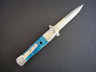 DUCK USA SPRING ASSISTED FOLDING KNIFE Heavy Duty Stiletto BLUE PEARL