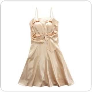 2012 Women Korean Cocktail Bow Dress,One Size, BEIGE #3201