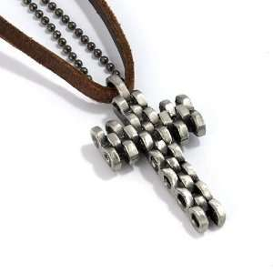 Brown Synthetic Leather Necklace and Silver grey Alloy Ball Bead Chain
