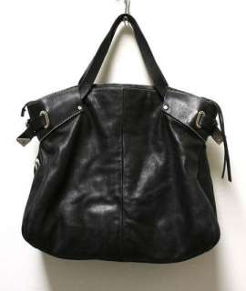 Francesco Biasia Black Leather Purse Shoulder Big Hand Bag Tote