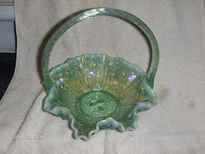 BEAUTIFUL FENTON BASKET IRIDESCENT GREENS BLUISH