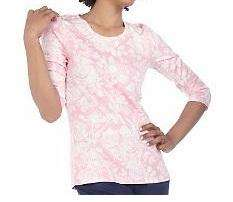 Isaac Mizrahi TOILE PRINT top shirt SCOOP neck PINK 1X