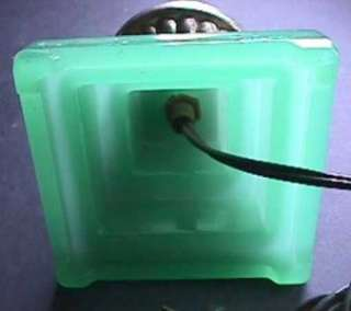 Art Deco Style Pressed Jadeite Green Glass Boudoir Bullet Lamp
