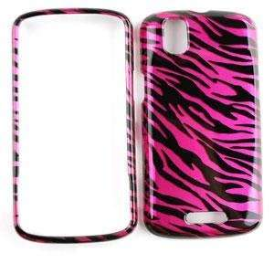 CAR CHARGER + PINK/BLACK ZEBRA PRINT DESIGN SNAP ON FACEPLATE CASE