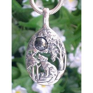 Sterling Silver Howling Wolf in Forest w/ Grey Hematite