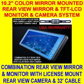 10.2 MIRROR MOUNT COLOR REAR VIEW BACKUP CAMERA SYSTEM LICENSE CAR