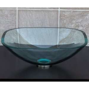 Square Glass Vessel Vanity Sink with free drain/ring