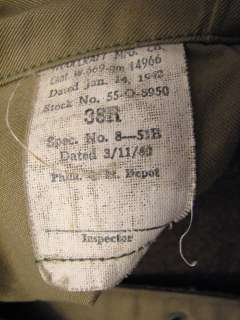 VINTAGE WWII ARMY MILITARY ISSUE WINTER WOOL OVERCOAT GREEN FULL