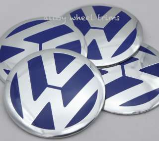ALUMINIUM VW Wheel Centre Caps Badge Sticker BLUE 60mm