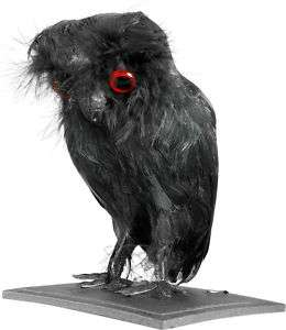 FAKE BLACK OWL BIRD SCARY HALLOWEEN PROP DECORATION