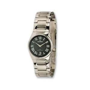 Croton Ladies Stainless Steel Quartz Black Dial Watch