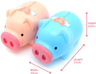 Very Cute Pink & Blue Pig Coin Bank 2pcs Set