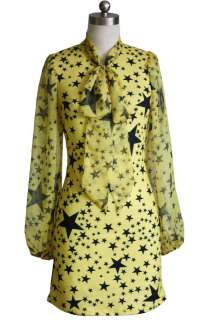 Fashion Printed Stars Long sleeve Prom Ball Mini Cocktail Party Girl