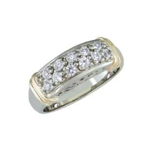 Enid   size 8.25 14K Gold Two Tone Diamond Ring Jewelry