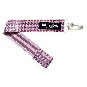 Baby Dry Goods 030 15 Pink Brown Houndstooth Pacifier Clip Baby