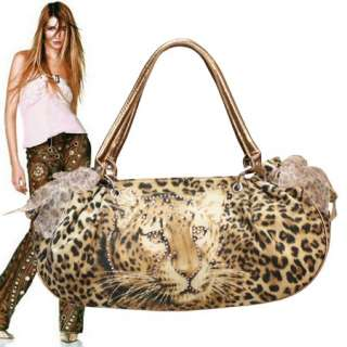 LEOPARD PRINT RIBBON TOTE HANDBAG PURSE  #6710