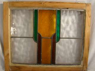 Antique ART DECO era ENGLISH Geometric Shape STAINED Leaded GLASS
