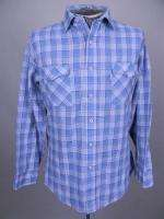Vtg Mens LEVIS Plaid Check BUTTON FRONT WESTERN work shirt L