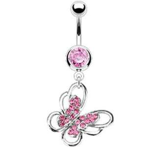 Pink Multi Paved Gem Butterfly Belly Ring Jewelry