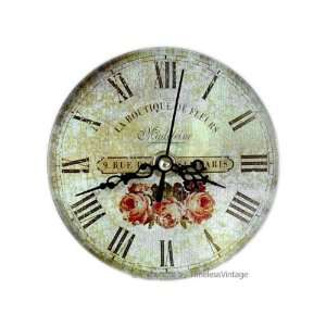 Small French Flower Shop Kitchen/Bathroom Wall Clock