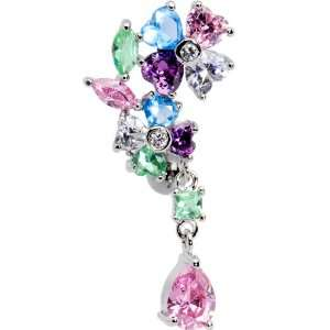 Top Mount Multi Gem Flower Drop Belly Ring Jewelry
