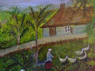 OIL PAINTING FRENCH PRIMITIVE XIXC DOG GEESE HERDER