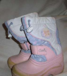 GIRLS SIZE 11 WINTER SNOW BOOTS BARBIE PINK PURPLE WHITE