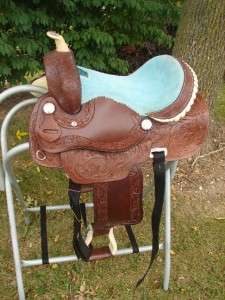 13DARK OIL LEATHER Western Trail Barrel Racer PONY Saddle HORSE