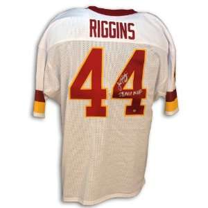 Signed John Riggins Jersey   Throwback White Inscribed SB